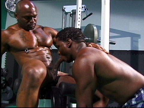 This is what I'm fuckin' talkin' bout'! Two alpha-male bodybuilding studs are working out, shirts off and pumping up their muscles. Both are getting turned on, and both want a taste of some bulging pec or bicep. After pumping up their gunz with some curls, Soloman Gregory succumbs to his urges and starts licking Flex-Deon Blake's bulging chest and nips. Thus starts a suck and fuck so hot, you'll be cumming along with the stars.